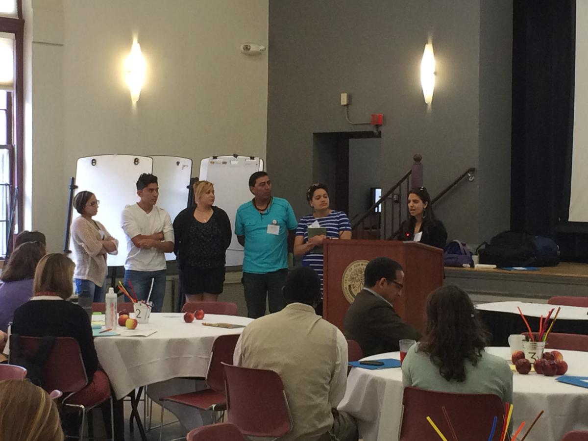 Members of the first ever Food Chain Workers Delegation present at the 2015 New England Food Summit. From left to right: Food Chain Worker Delegates Mileika Arroyo, Jonathan Alvarez, Monica Rivera, Harol Lopez, Senowa Mize-Fox, Heather LaPenn.