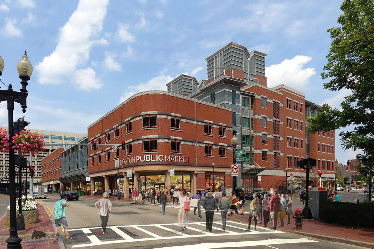 Boston Public Market Render - Congress and Hanover View