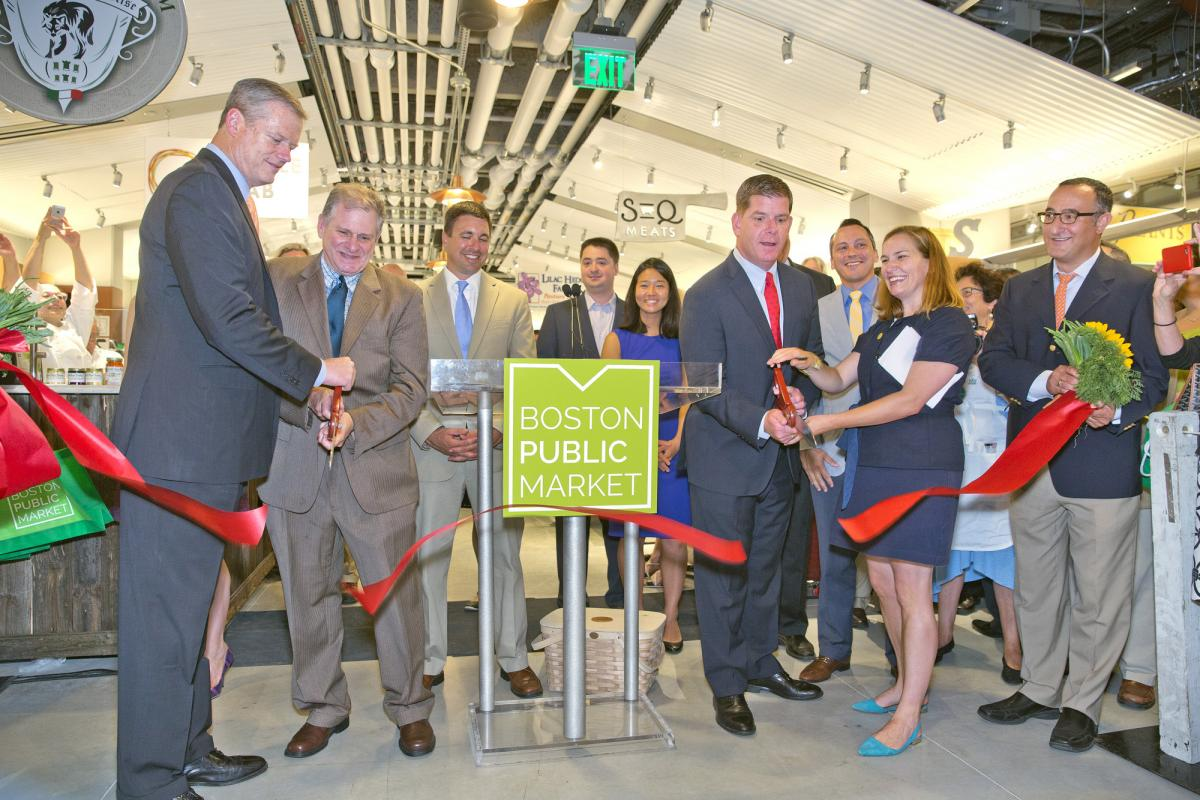 Boston Public Market Ribbon Cutting ceremony with Governor Baker and Mayor Walsh