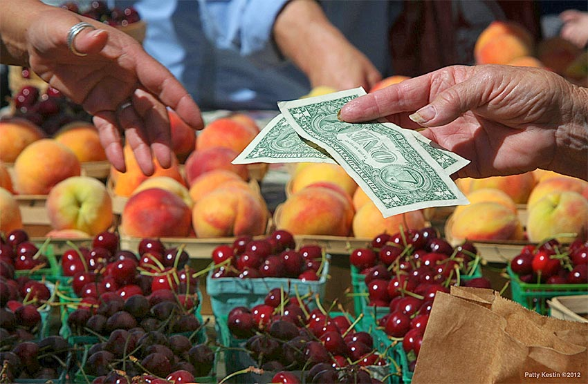 close up of hands exchanging dollars at farmers market with cherries and peaches, credit: Patty Kestin
