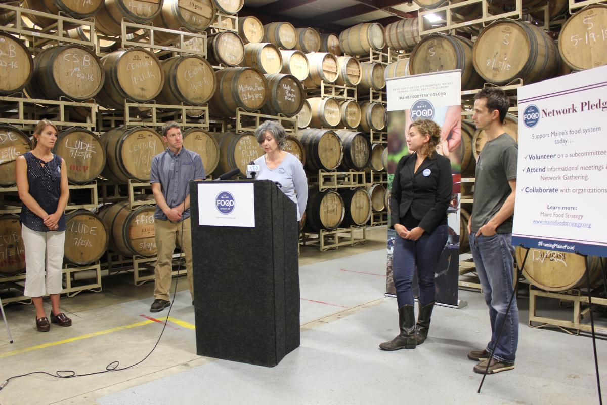 Press conference: Allagash Brewing Company, 8/9/2016 Left to right: Sandy Gilbreath, Jason Perkins, Tanya Swain, Sara Trunzo, Joshua Stoll