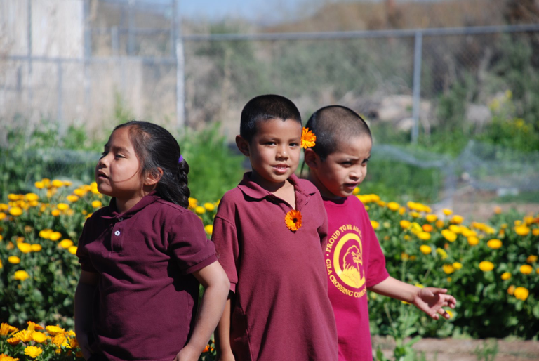 Akimel O'odham children in school garden of the Gila River Reservation, Arizona