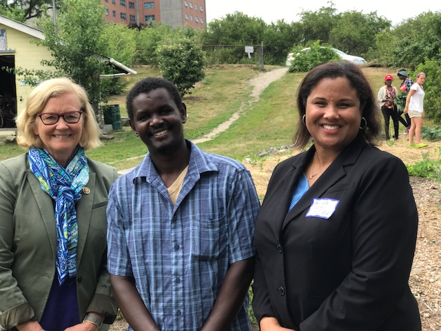 Congresswoman Chellie Pingree, Dr. Rucker-Ross, and Hussein Muktar who farms and leads outreach for Cultivating Community at Boyd Street Urban Farm