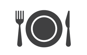 food service graphic (fork, plate, knife)