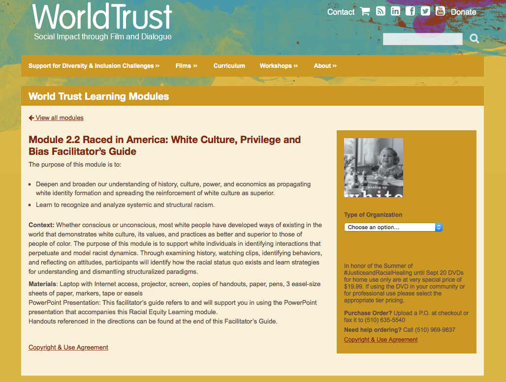 World Trust Raced in America: White Culture, Privilege and Bias Facilitator's Guide Screenshot