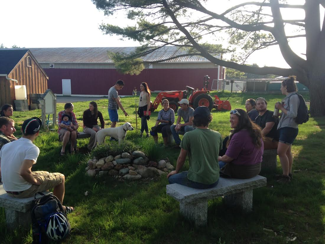Attendees gather at the first YFN of the 2015 season. Stone Hill College Farm is located at the Jesuit College in Easton, MA, and donates all of the food it produces to local organizations which serve low-income and food insecure populations.
