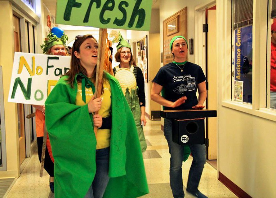 On April 22, 2015, students from UMaine Presque Isle marched across campus to encourage the university to make a committment to buy 20% of their food from local producers by year 2020