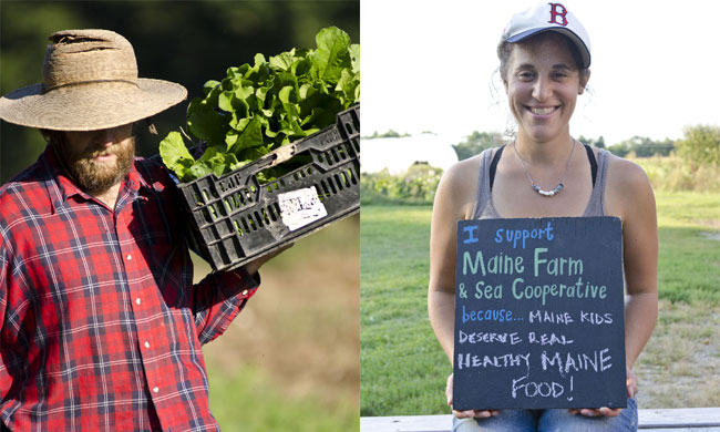 A local farmer (left) and a community-owner (right) with Maine Farm & Sea Cooperative. Photos by Nathan Broaddus.