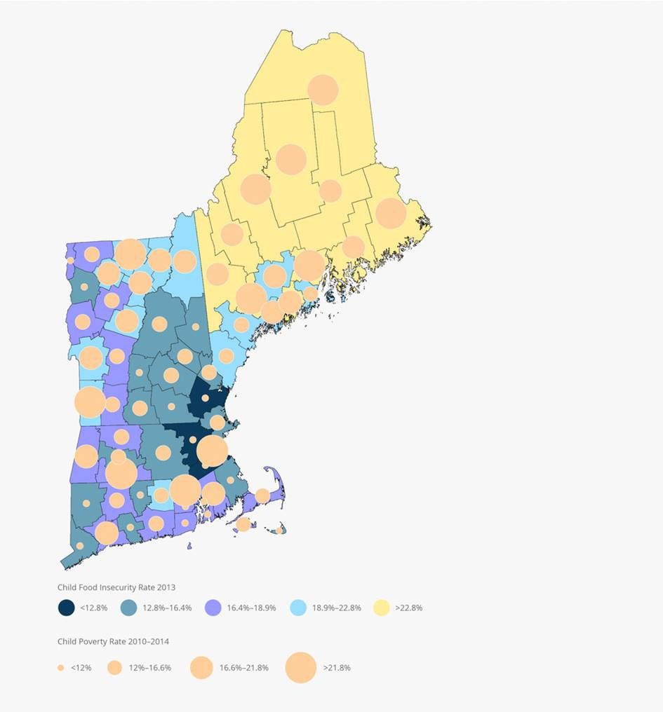 Map of New England Child Food Insecurity and Child Poverty Rates