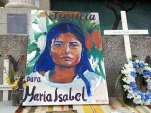 """Justicia para Maria Isabel"" painting and shrine"